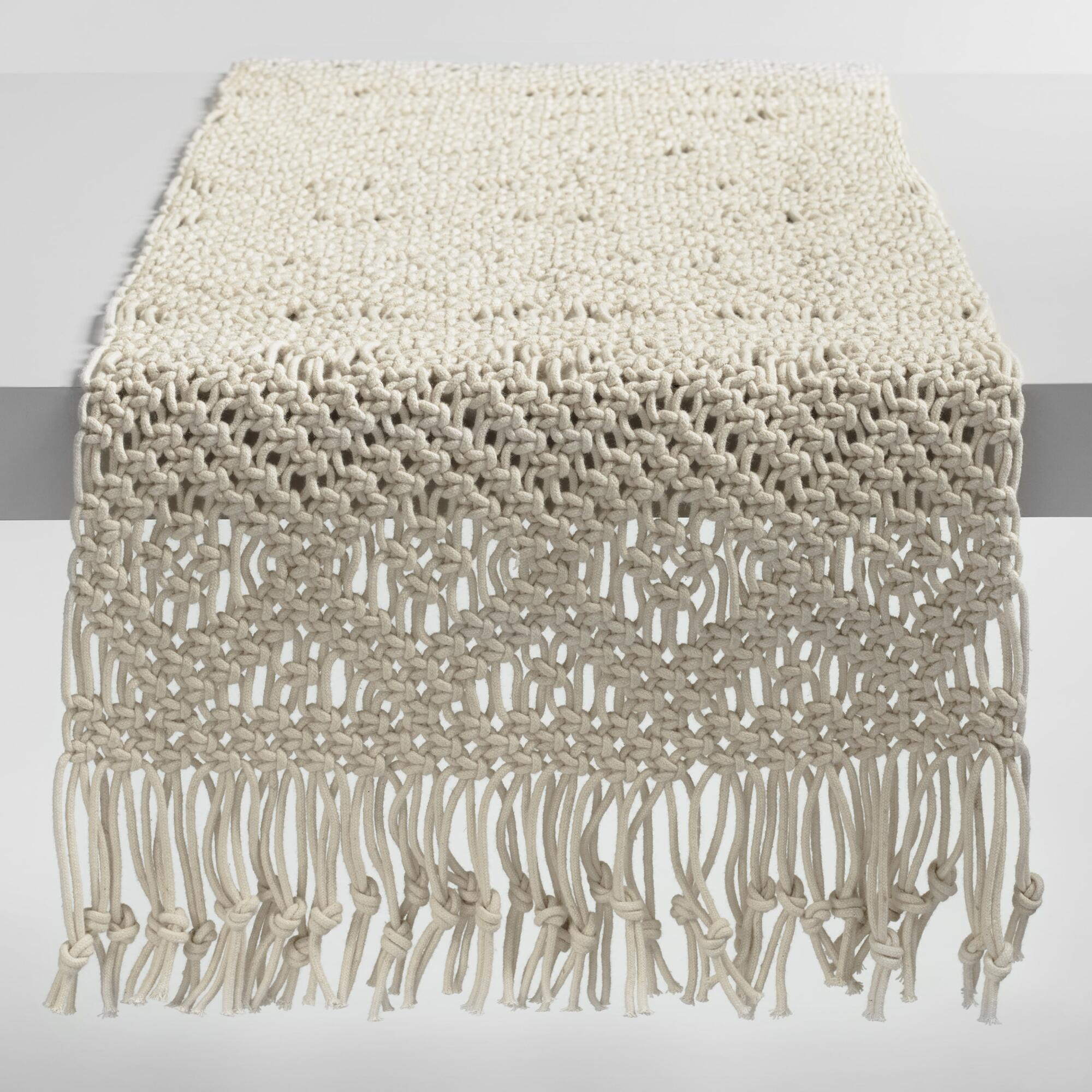 natural macrame table runner world market iipsrv fcgi artistic accents tablecloth luxury dining room furniture blue patio ikea glass top real wood flooring nate berkus towels