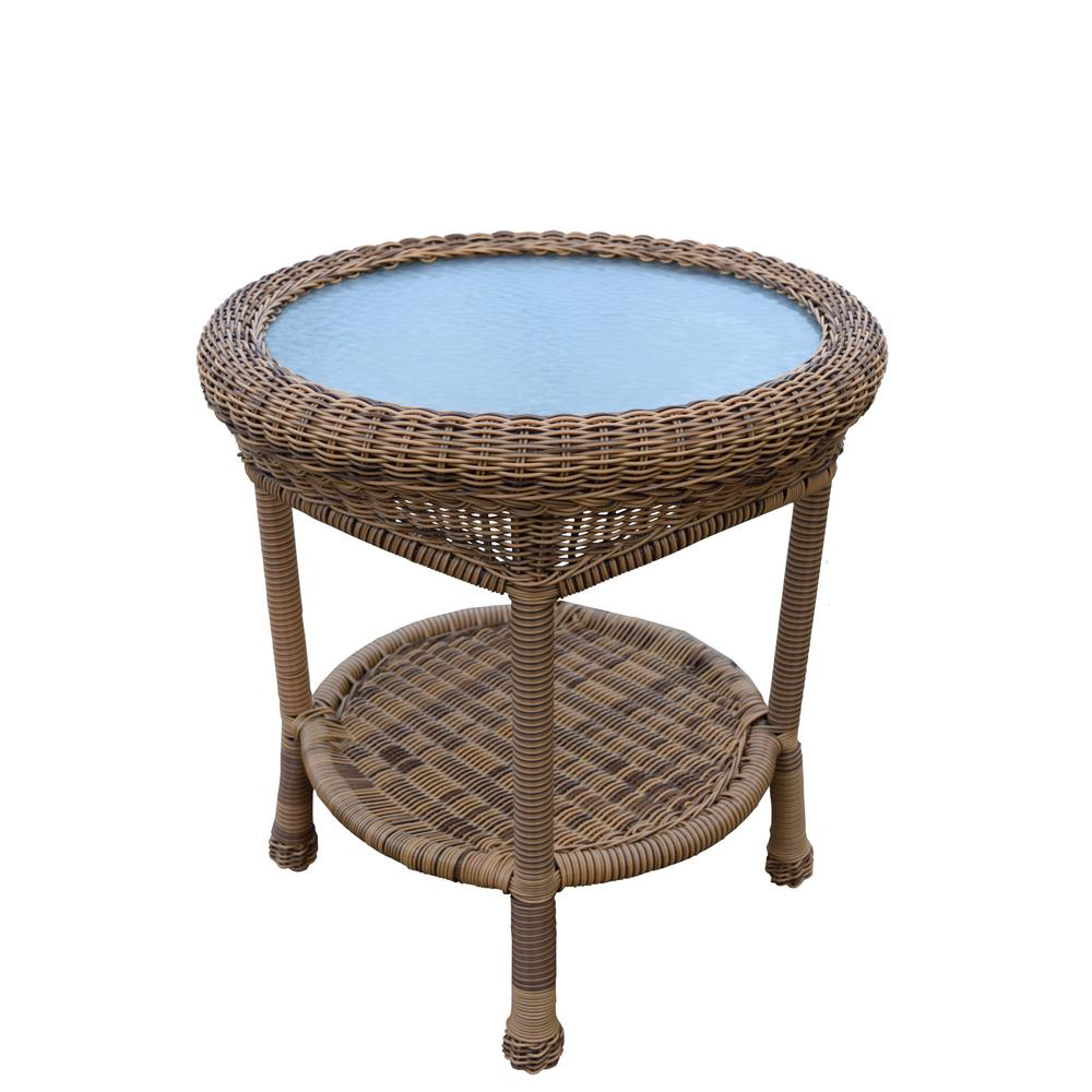 natural round wicker outdoor side table the tables foldable accent brown wine rack console chest tiffany pond lily lamp cast metal nate berkus tiny coffee ott chair ikea black