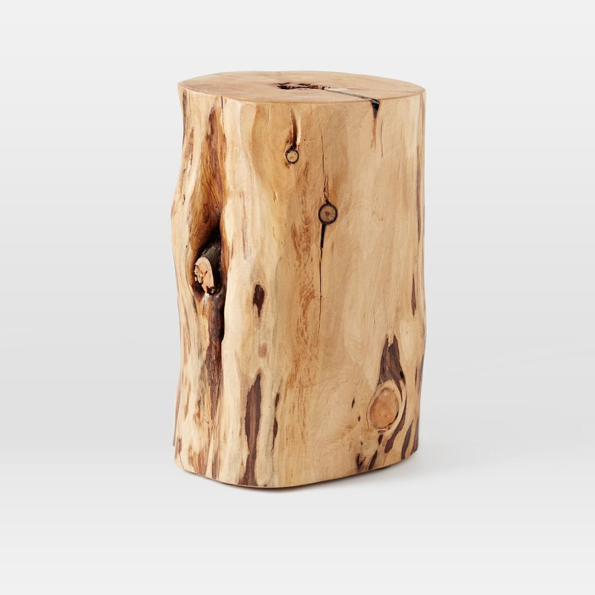 natural tree stump side table west elm media wood accent quilted placemats industrial cream colored tables silver grey lamps painted nightstands small dining counter height chairs