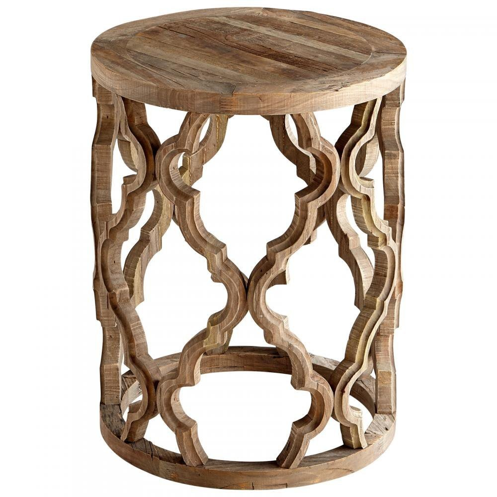natural wood quatrefoil accent table belle escape sirah side tables coastal small dark console lifetime door treads wooden frog instrument antique green marble top drum stool