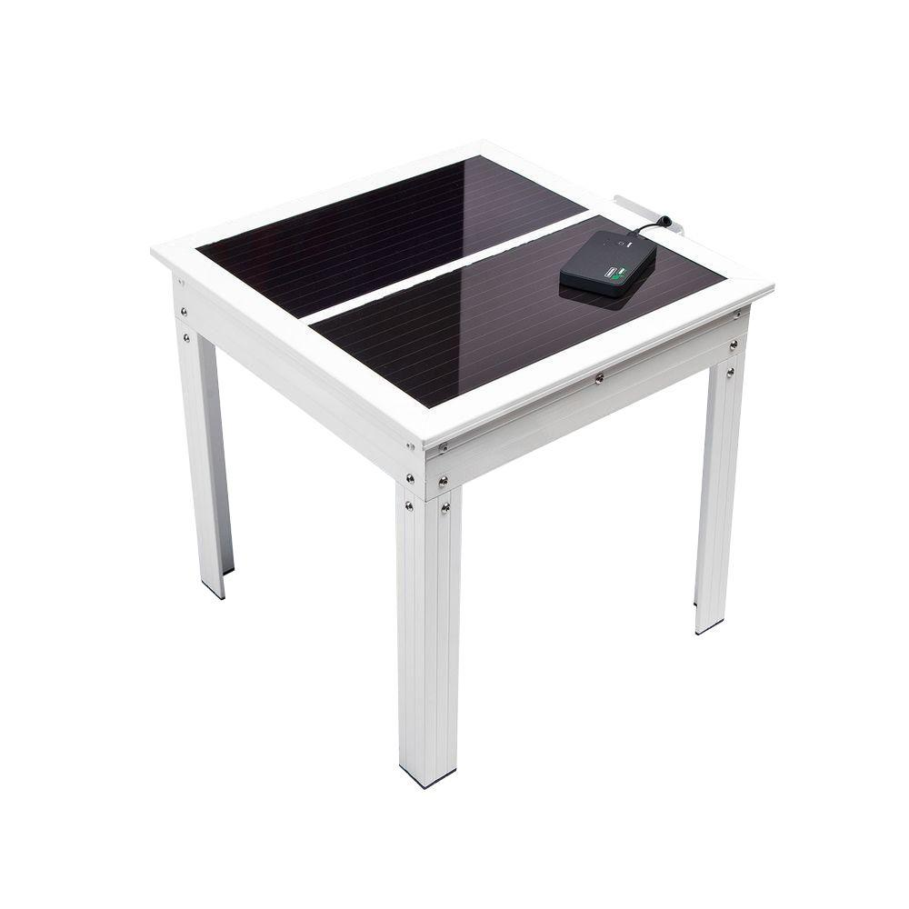 nature power savana solar powered patio table with bank for battery chargers metal accent charging portable devices sage green paint couches edmonton nautical touch lamp apartment