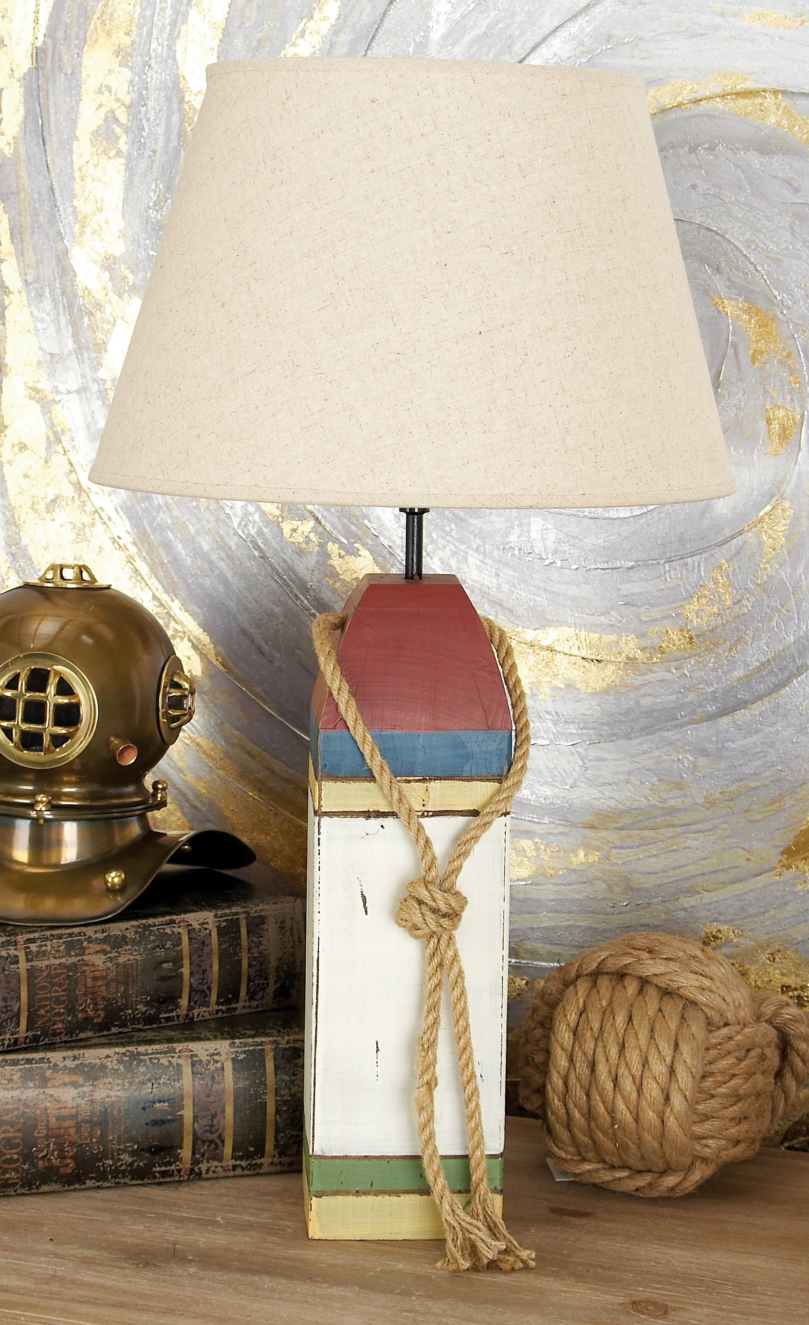 nautical coastal end tables waples wooden buoy table lamp accent lamps bathroom floor storage cabinet furniture patio restoration hardware sectional antique white square coffee