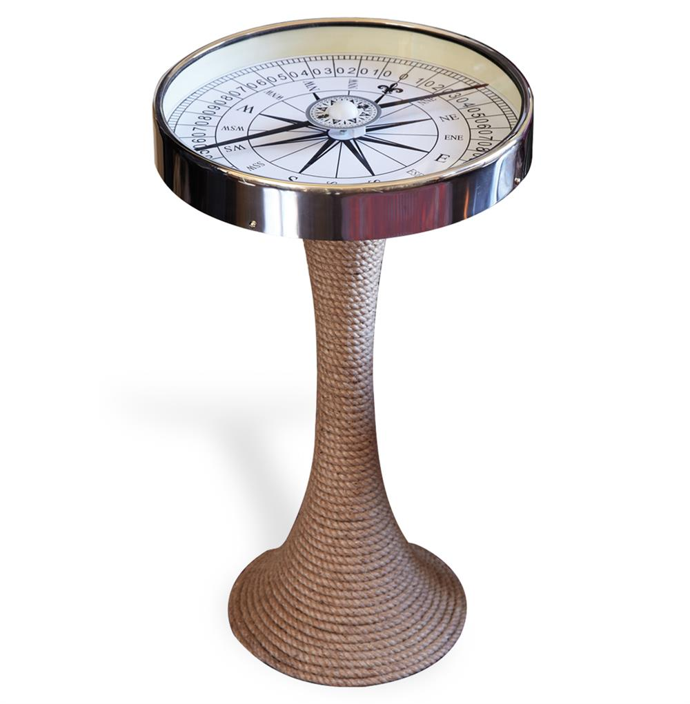 nautical glass and rope coastal style compass accent side end table product kathy kuo home ott legs top slim black cherry trestle kitchen white round pedestal skinny ikea small