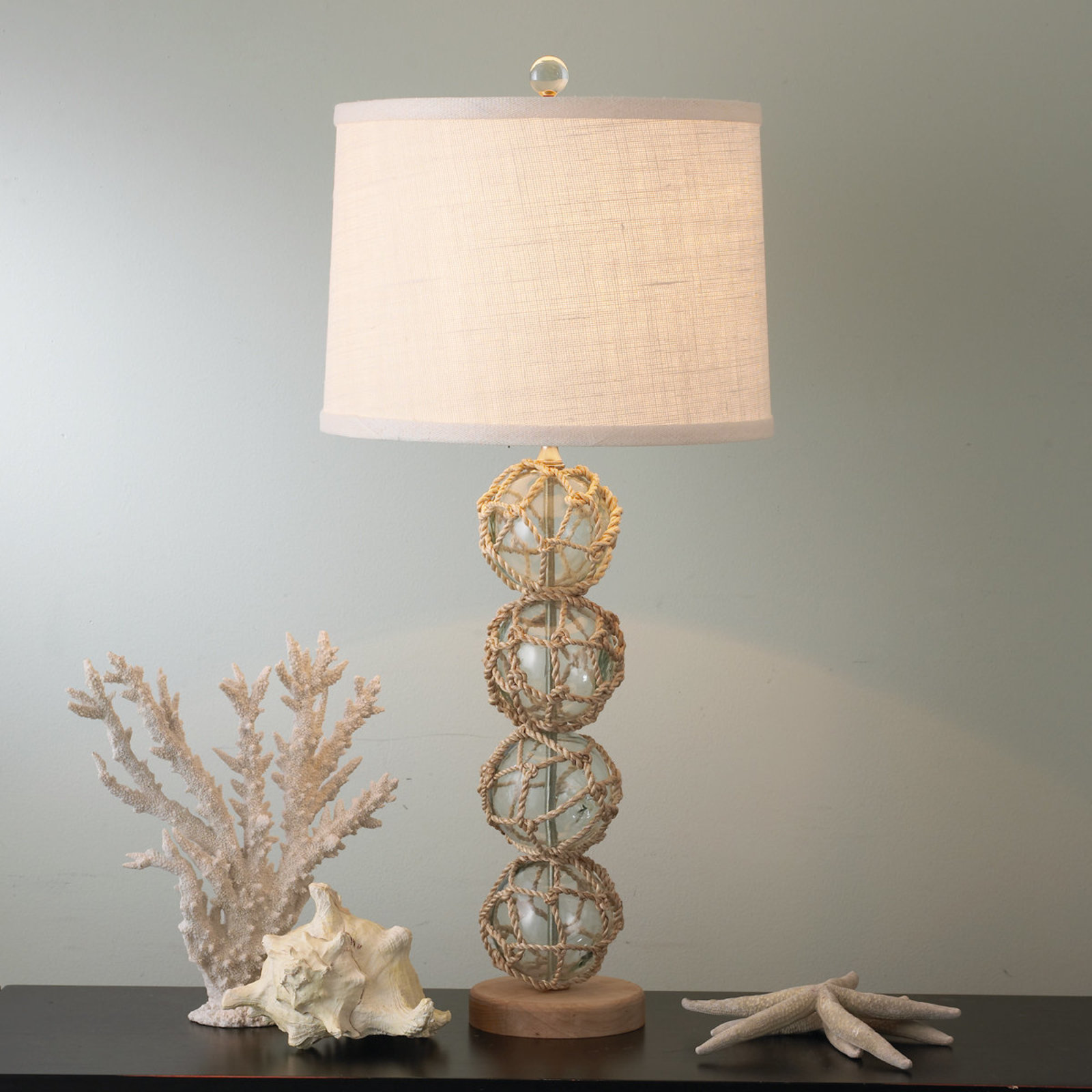 nautical rope and glass ball table lamp shades light accent lamps marble tulip side entry mirror set country kitchen antique kidney narrow console cabinet bathroom floor storage