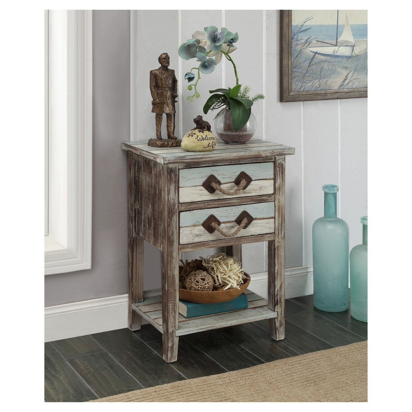 nautical two drawer accent table multicolored after long day the beach nice curl your favorite chair and our christopher knight small wall round white wicker patio end trestle