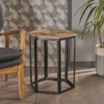 navan industrial natural mango wood end table with black metal accent accents tall and stools set treasure trove all glass side cute lamps for bedroom pub style height small 150x150