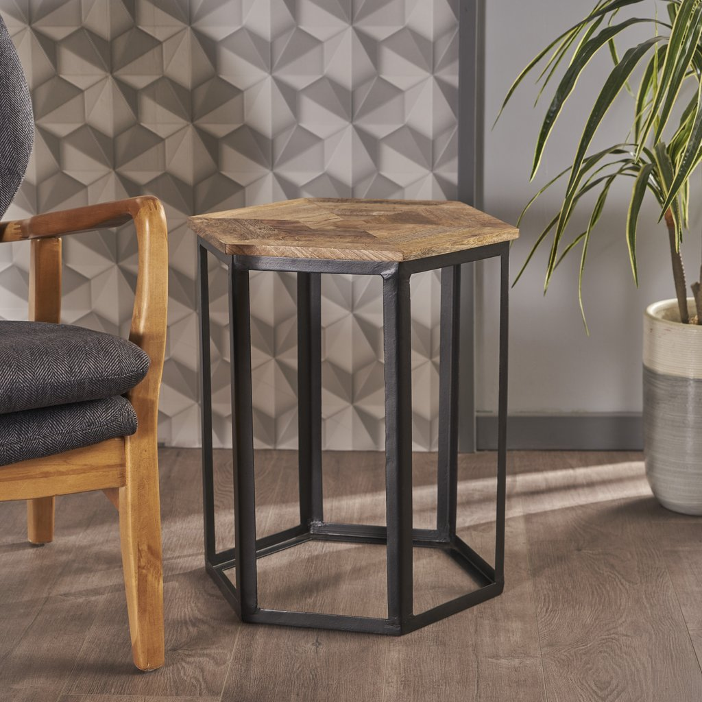 navan industrial natural mango wood end table with black metal accent accents tall and stools set treasure trove all glass side cute lamps for bedroom pub style height small