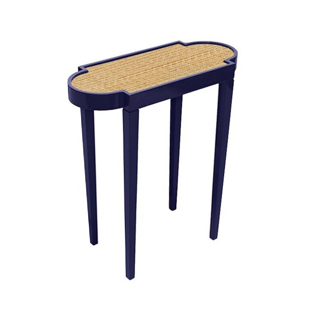 navy and raffia accent table hive home gift garden tinysidetable web industrial high end chandeliers round silver small folding side tables storage bench butterfly lighting with