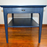 navy blue mid century modern refurbished end table narrow accent solar umbrella baroque coffee tall hairpin legs small cloth rustic wine cabinet pier one frames lucite home decor 150x150