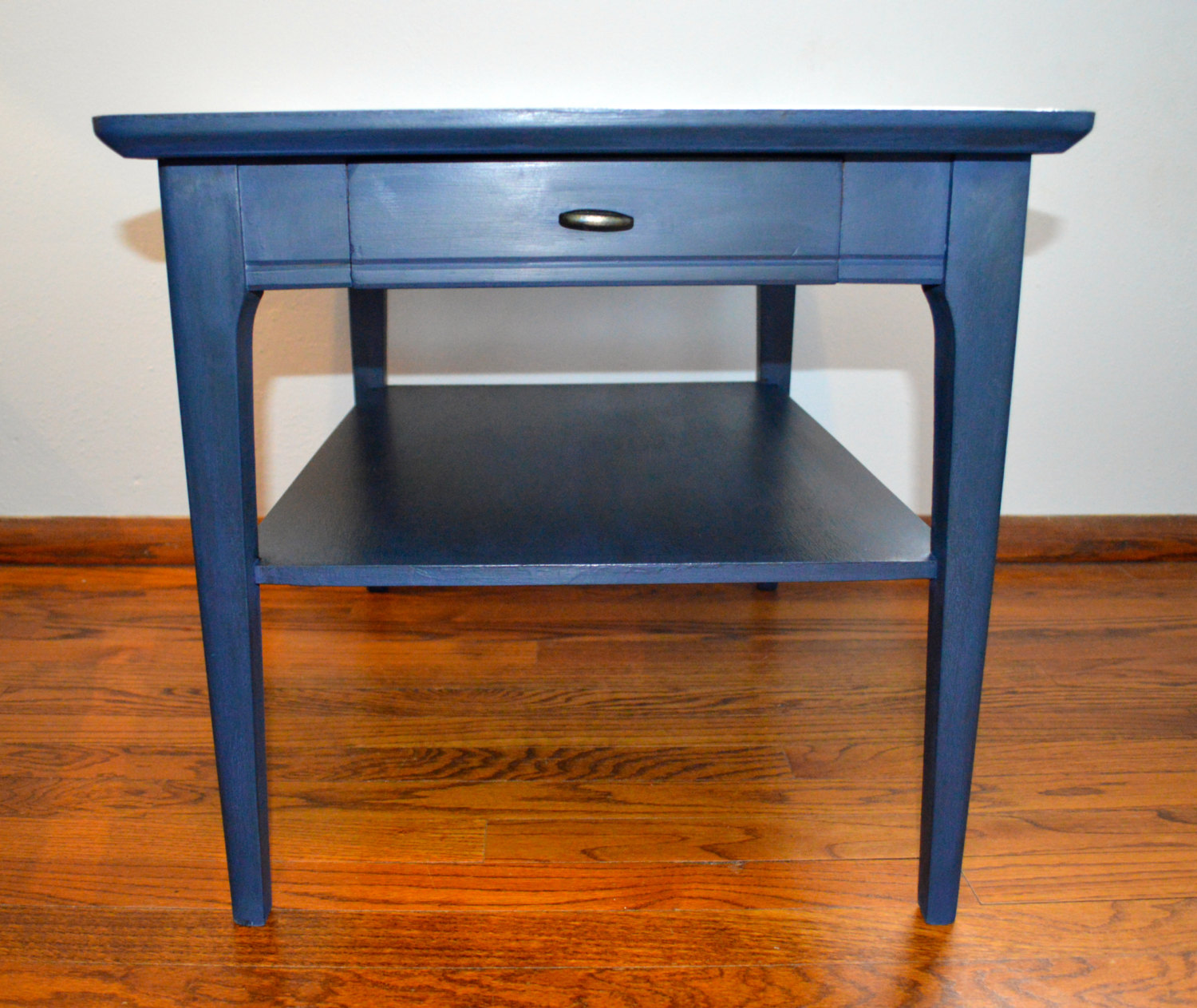 navy blue mid century modern refurbished end table narrow accent solar umbrella baroque coffee tall hairpin legs small cloth rustic wine cabinet pier one frames lucite home decor
