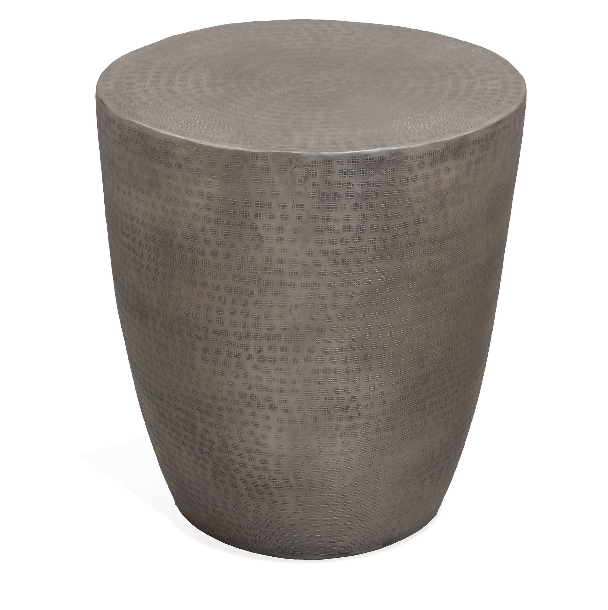 neptune drum end table pewter accent and occasional furniture external door threshold curved side inch console corner mirror cabinet small space living white round nesting tables