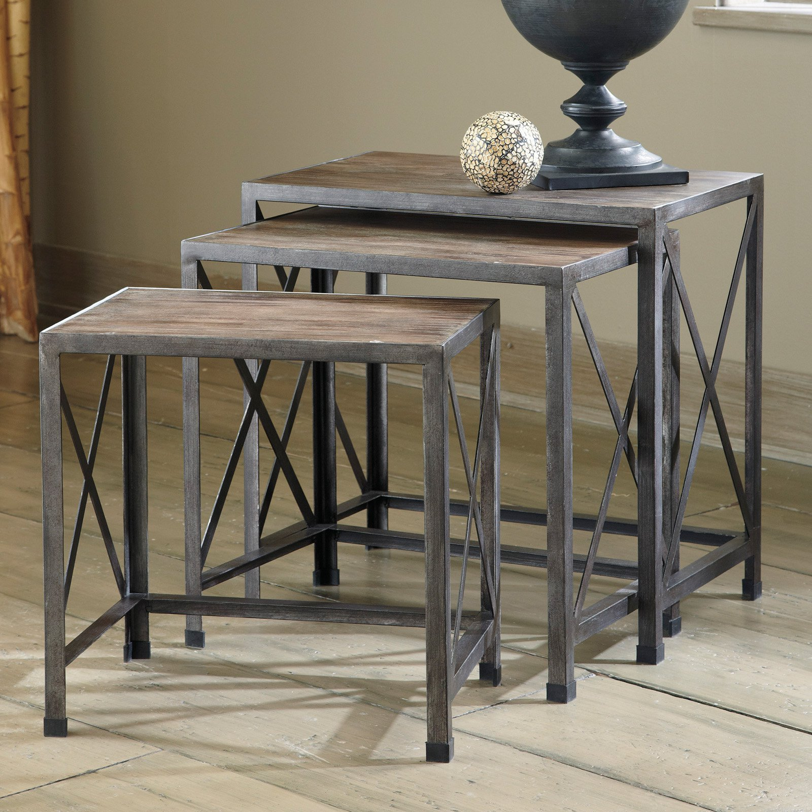 nesting accent tables round signature design ashley rustic accents graybrown knurl distressed pine end unique small verizon ellipsis gallerie coupon pottery barn occasional coffee