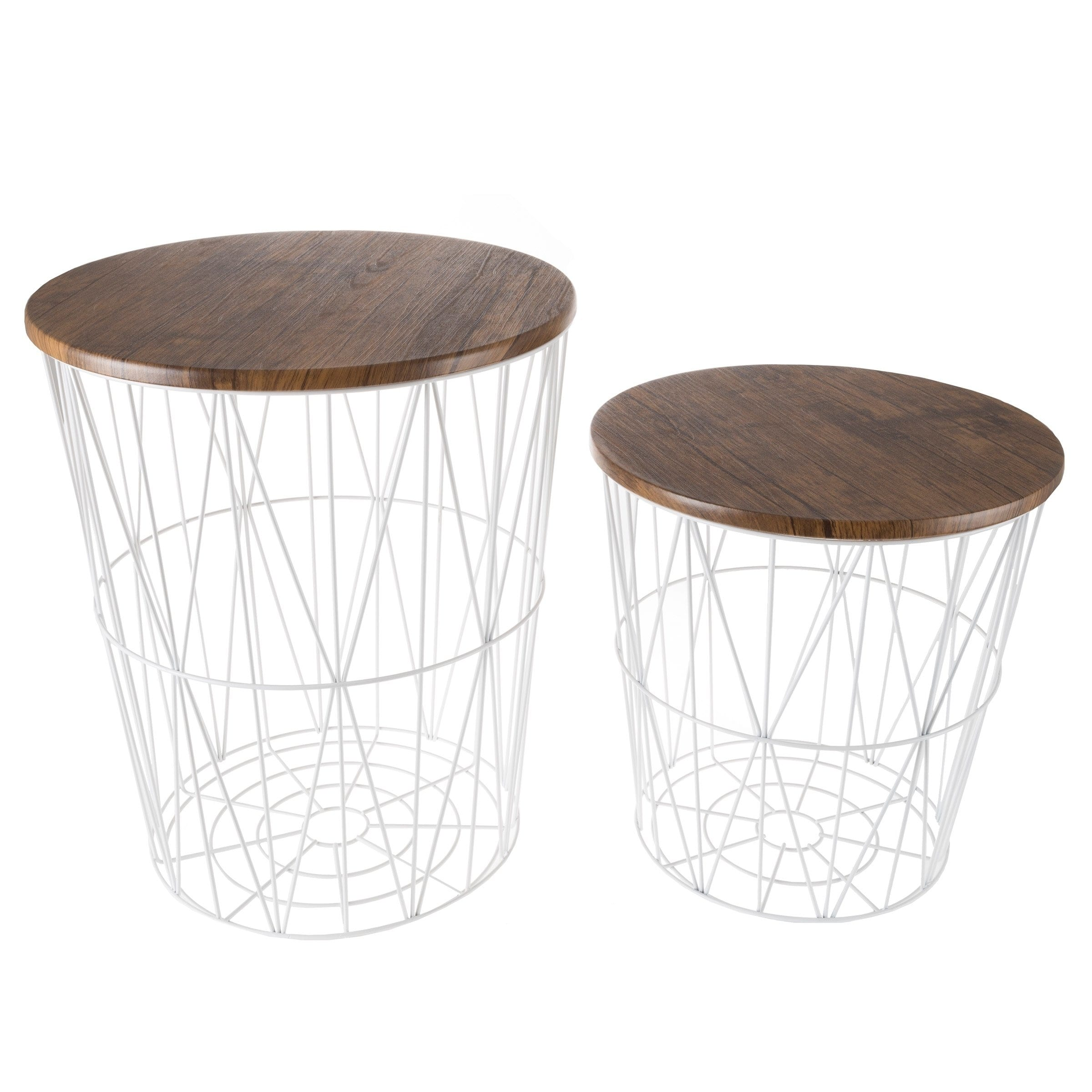 nesting end tables with storage set convertible round metal basket veneer wood top accent side lavish home table black room essentials antique dining chairs furniture toronto iron