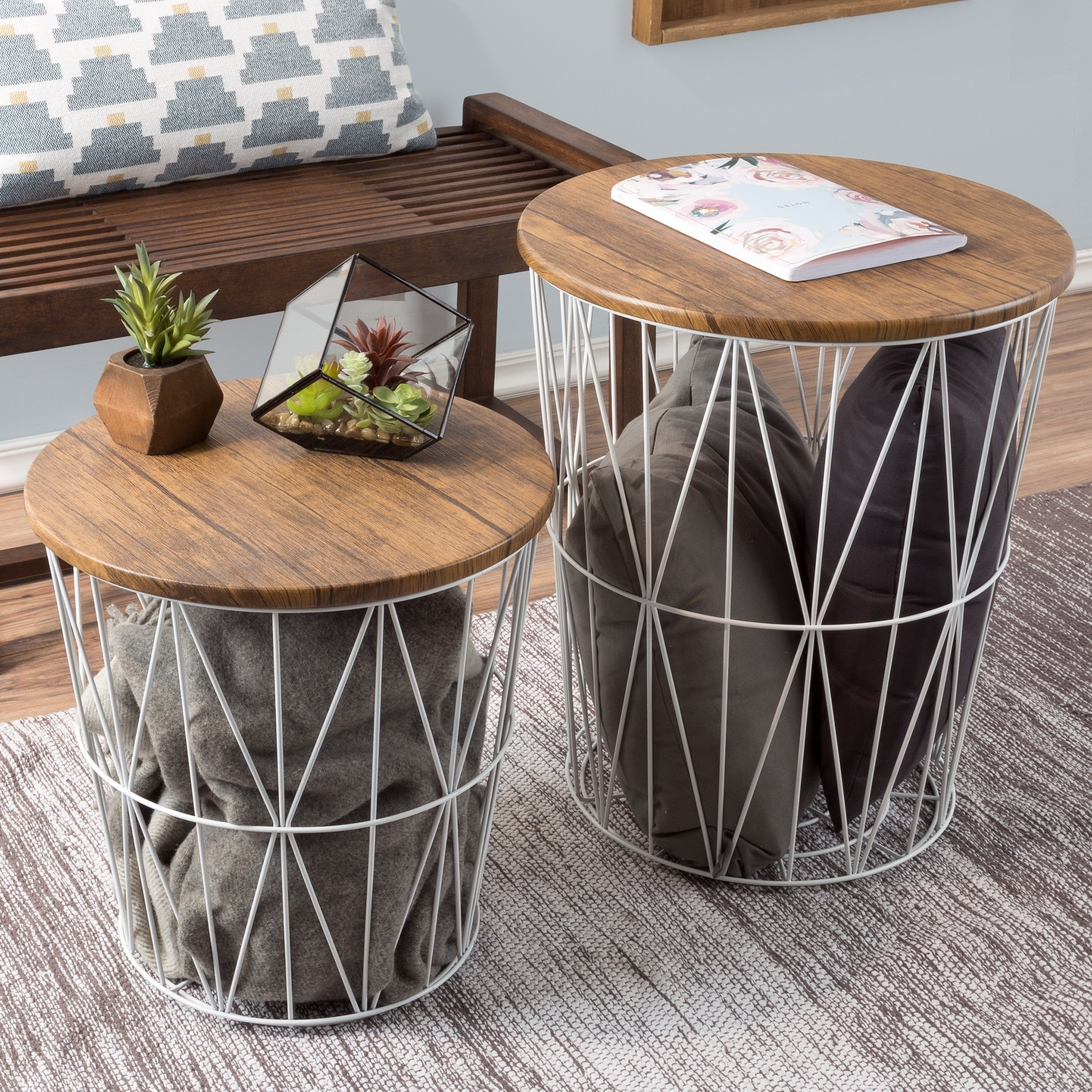 nesting end tables with storage set convertible round metal basket veneer wood top accent side lavish home table free shipping today sofa console led lamp short patio wine bar