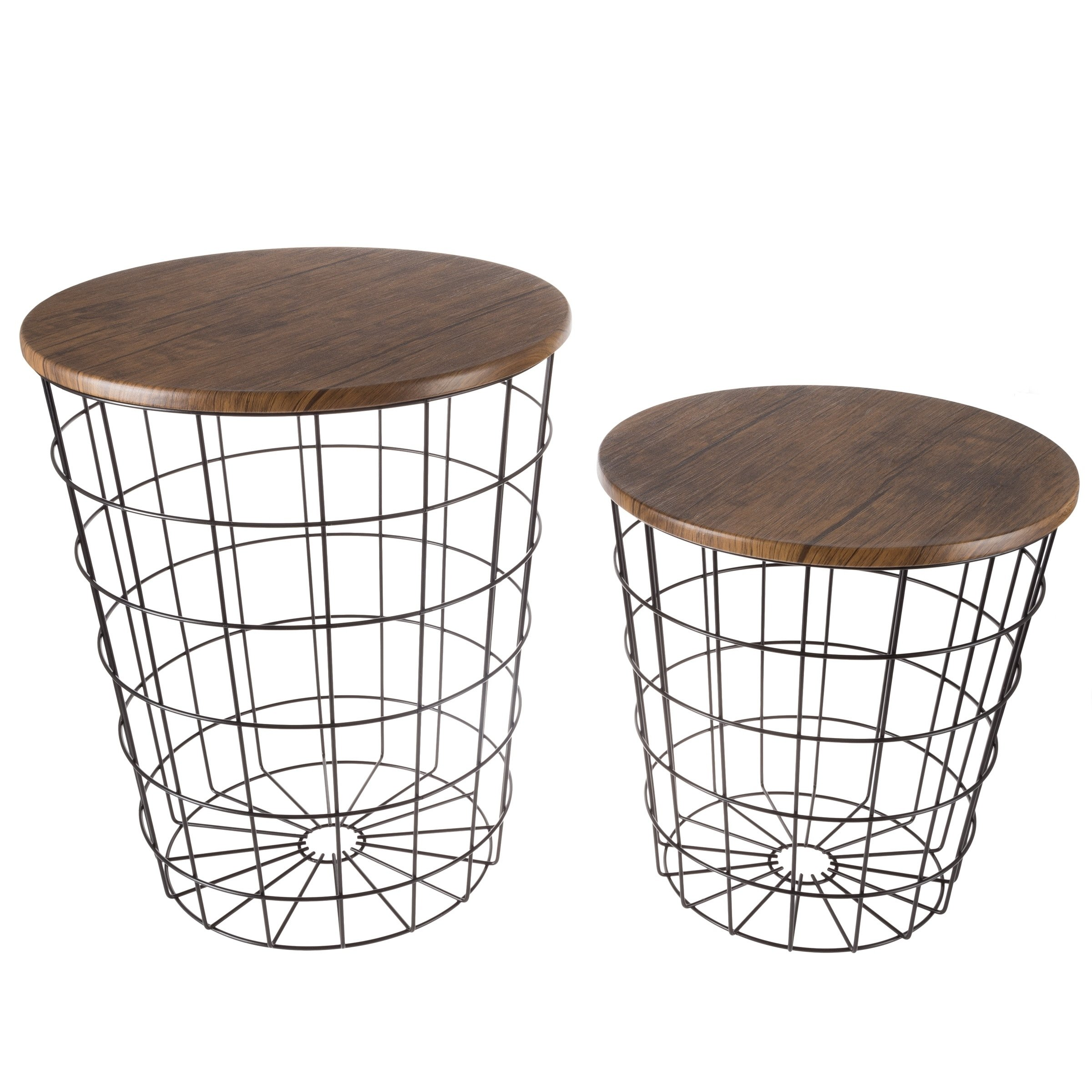 nesting end tables with storage set convertible round metal basket veneer wood top accent side lavish home wire table free shipping today all modern high pub and chairs mirrored