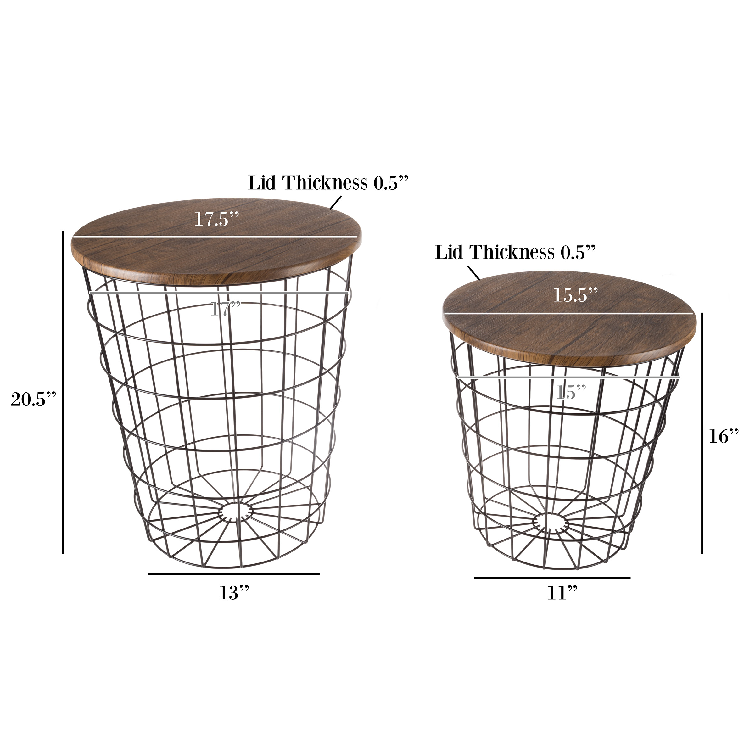 nesting end tables with storage set convertible round metal wire basket accent table veneer wood top side for home and office lavish black wide door threshold high patio all