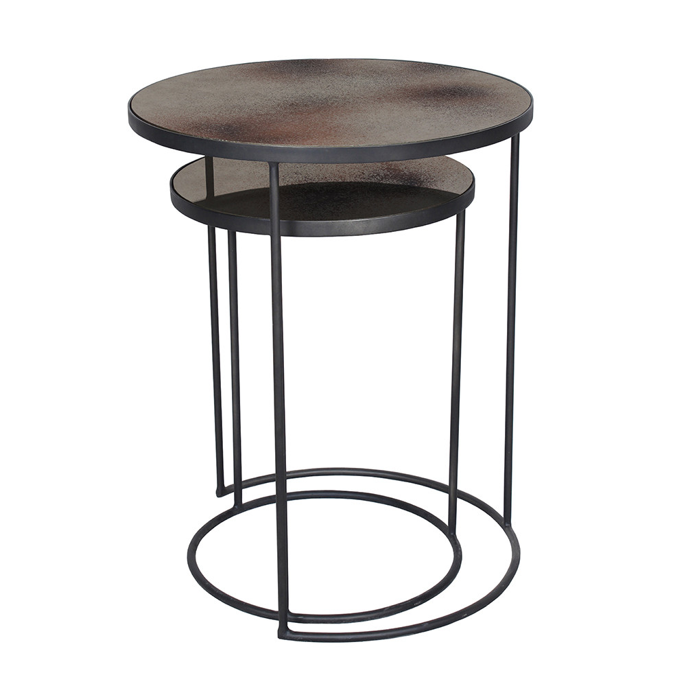nesting side tables accent small nest metal end mirrored table kitchen set bronze full size patio sun shades drum seat height rustic furniture coffee and sets with storage