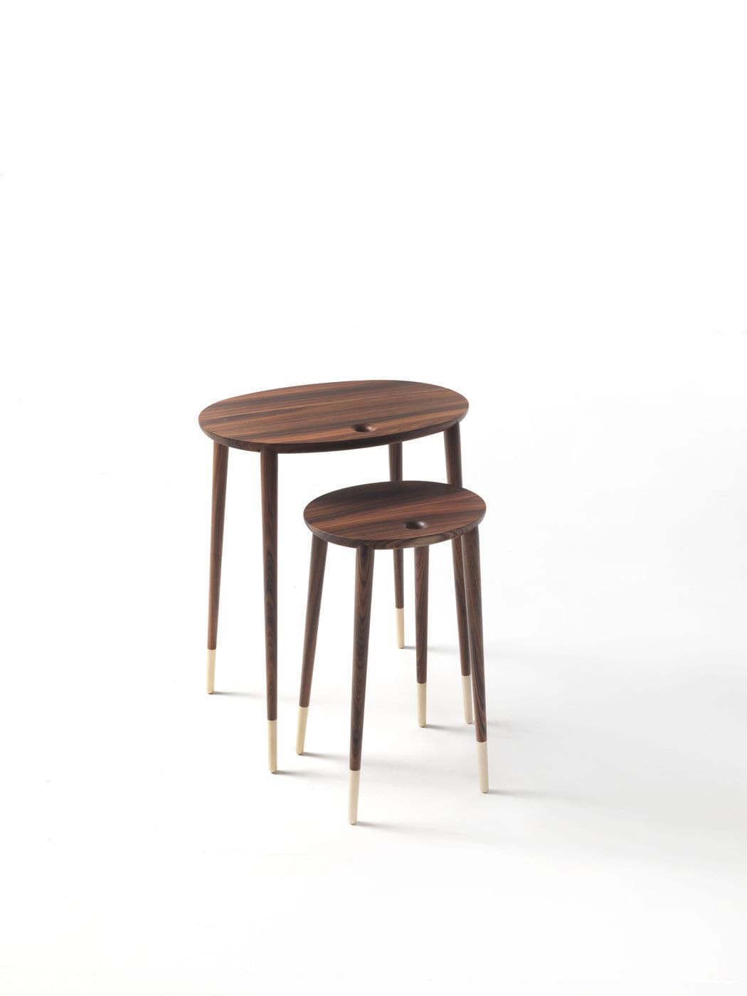 nesting tables next selzer piece knurl accent set two contemporary walnut rosewood rogers table cloth runners white cube end round trestle bar height kitchen and chairs diy tripod