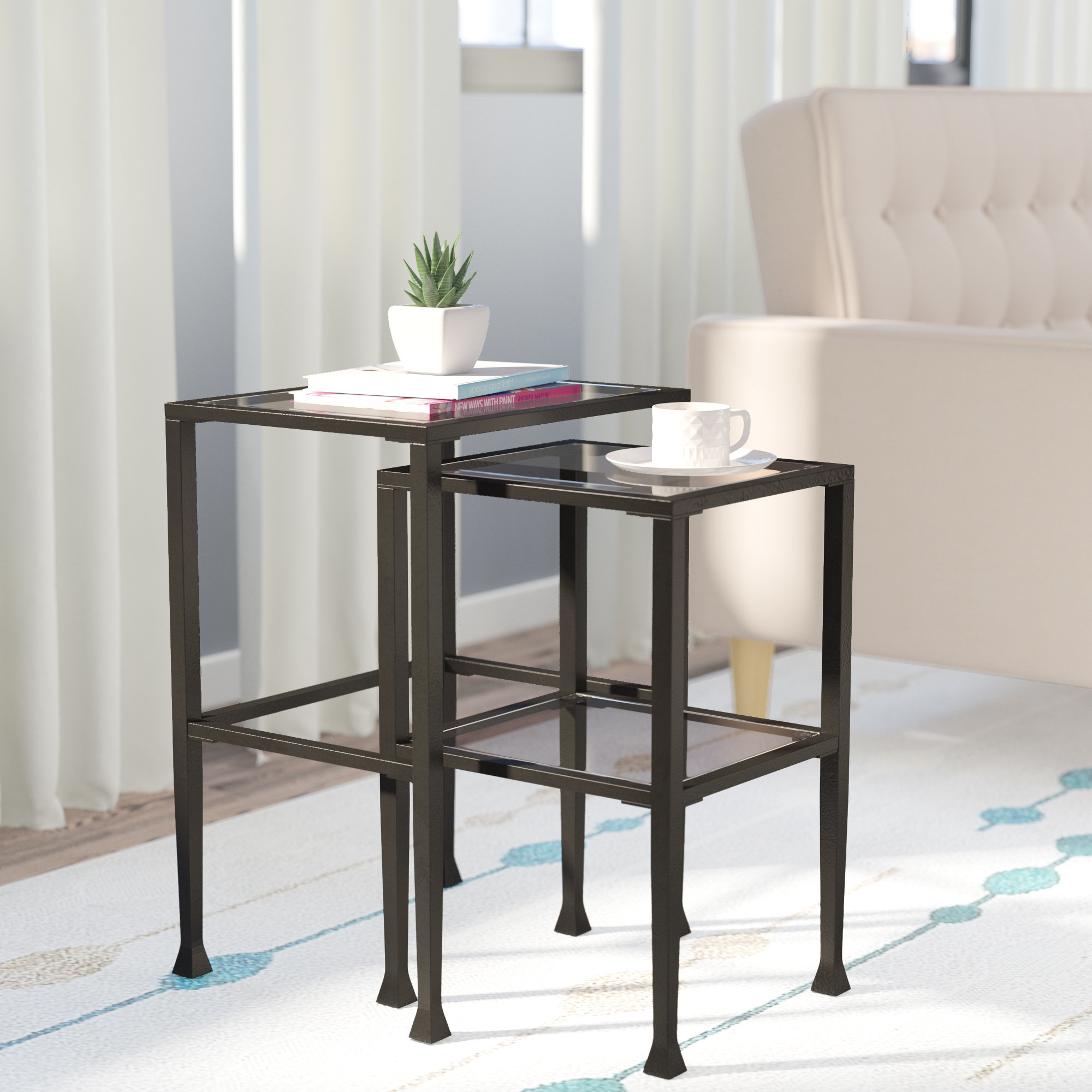 nesting tables you love sabrina piece inch high accent black metal end table with glass top industrial coffee set skinny white wooden crate side gold legs outdoor garden chairs