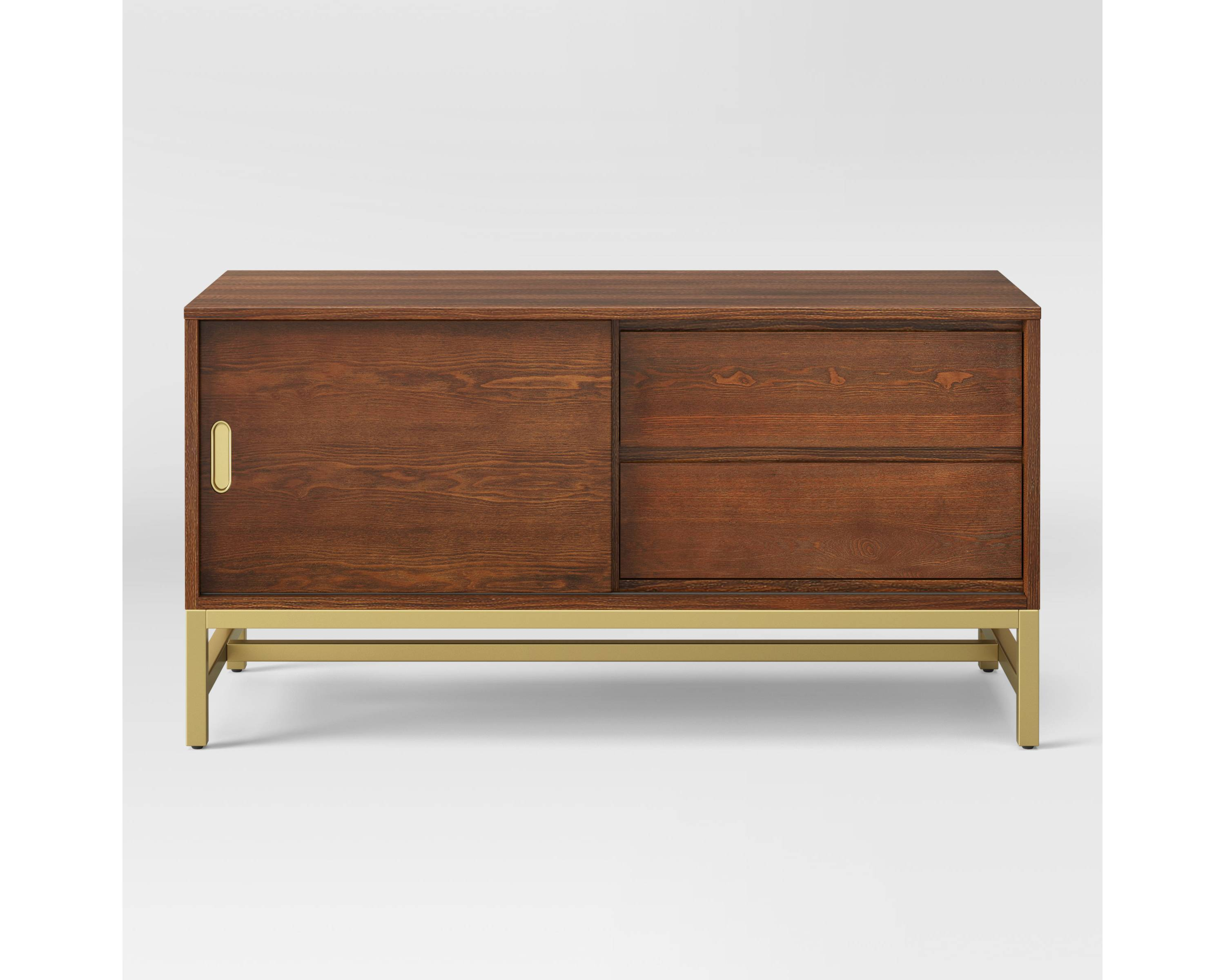 nesting target new project only looks expensive pulp credenza black accent table antwerp entertainment stand nate berkus gold side threshold drawer end with usb charger kohls