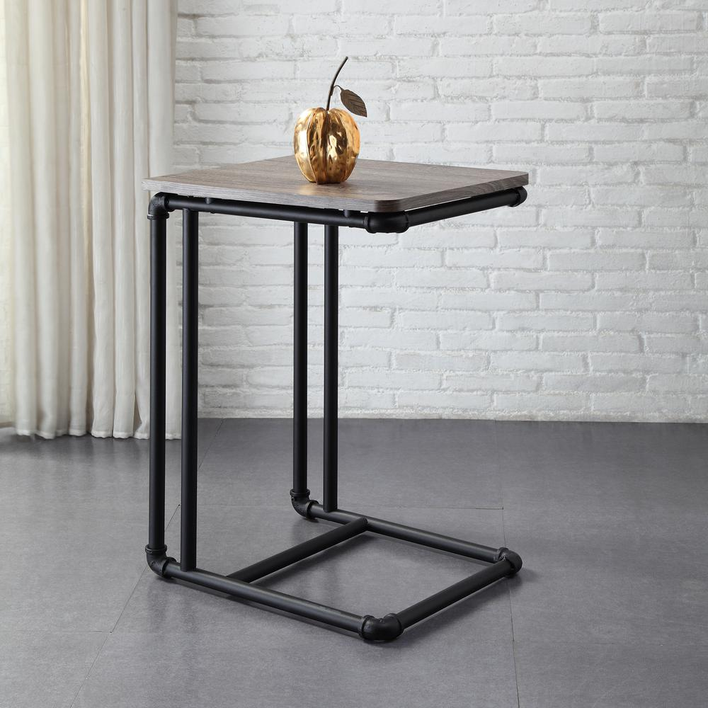 neu home manchester industrial gray and black pipe side end tables accent table sofa the silver metal small touch lamp farmhouse style chairs diy wood top kitchen console legs