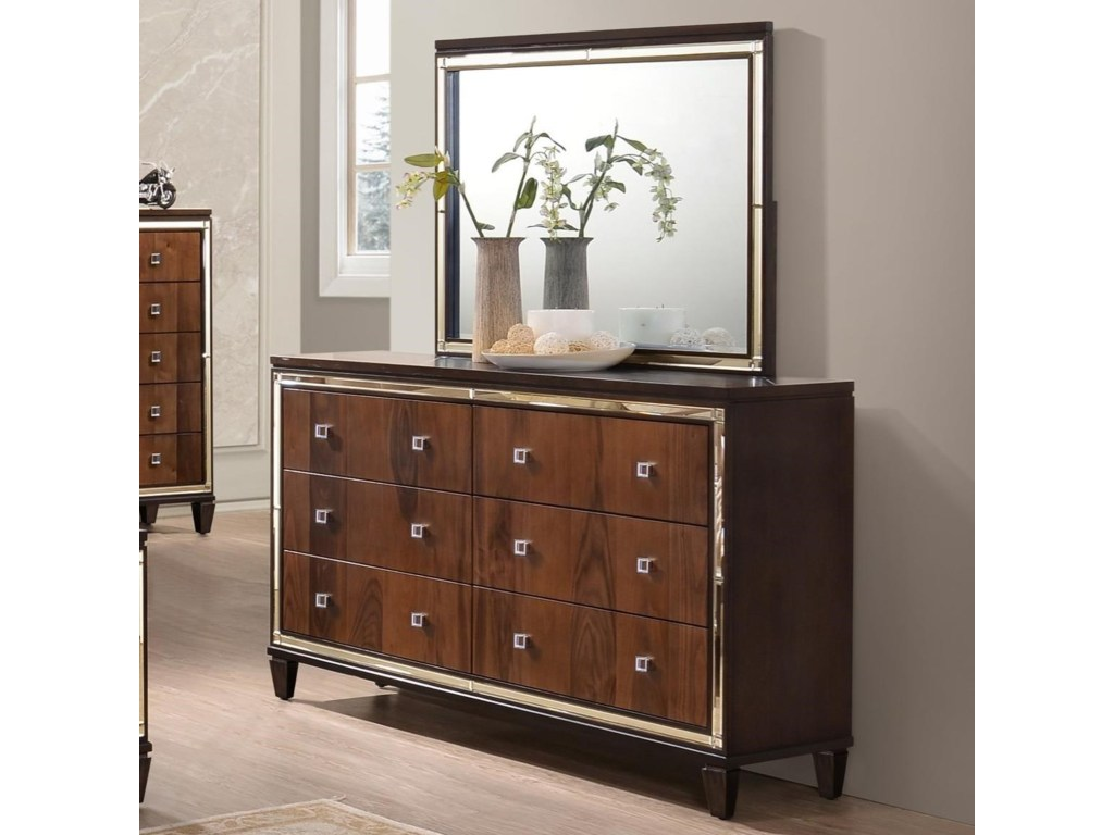 new classic claire six drawer dresser with mirrored accents and products color threshold accent table clairedresser mirror set vintage drafting wedding linens coffee houston farm