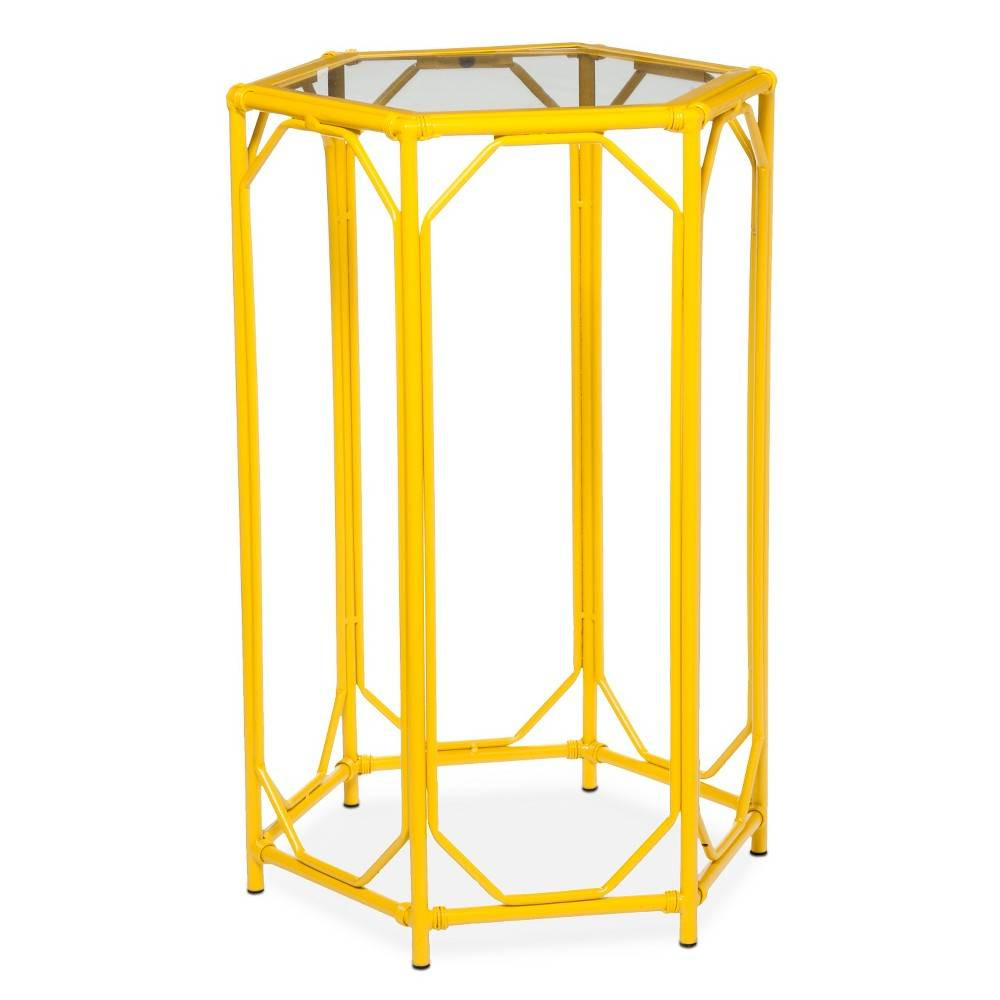 new end table yellow painted hardwood oval traditional unfinished target threshold bamboo hexagon motif accent gold moroccan lamp small round pedestal side rain drum coffee with