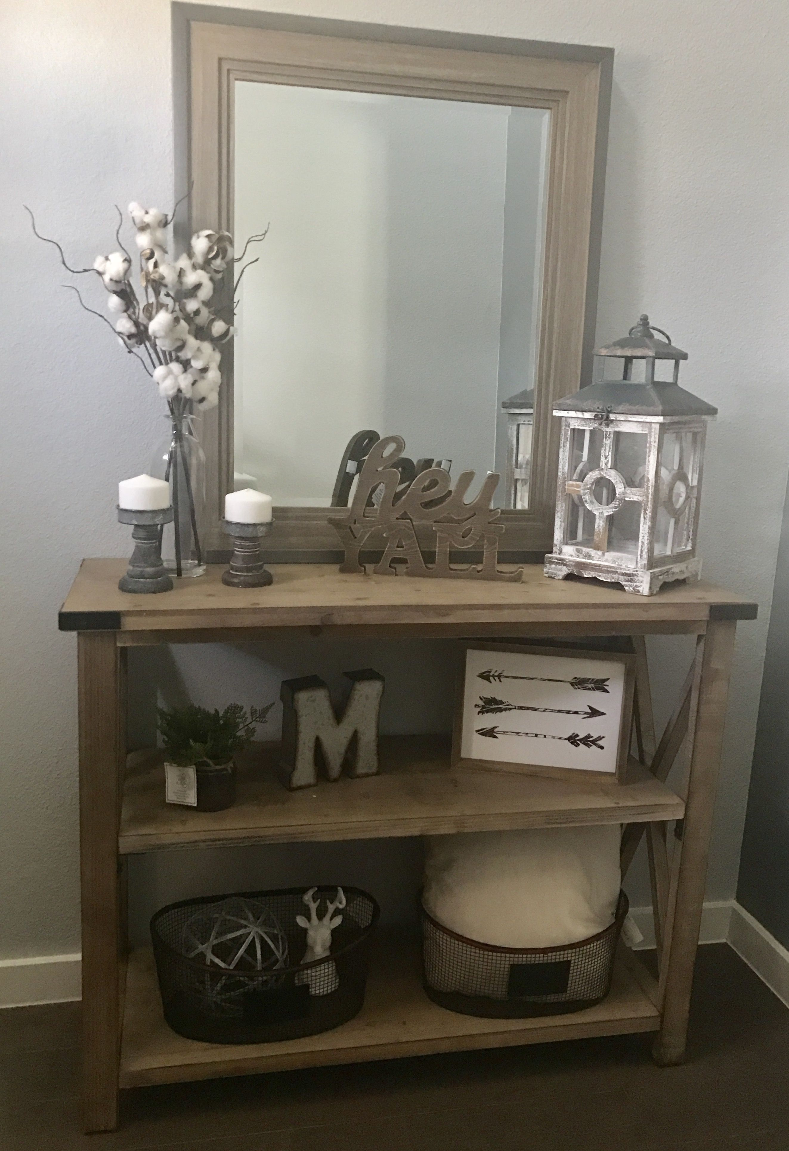 new modern farmhouse entry way console table decor mcmillen home style accent metal and glass coffee yellow placemats mini bedside lamp white wicker furniture inexpensive tables