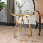 new modern glazed gold metal round accent side end table antiqued details about mirror top antique drum two tier bronze paint lobby furniture little patio glass dining room sets 150x150
