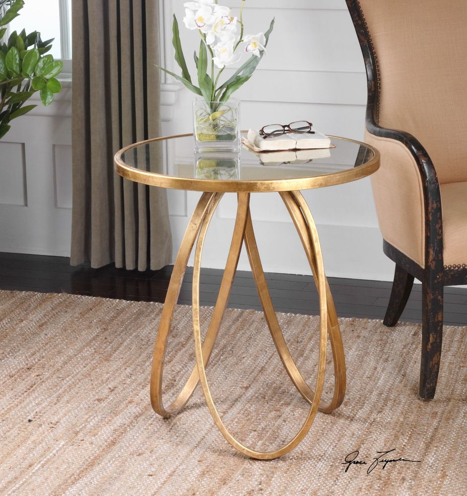 new modern glazed gold metal round accent side end table antiqued details about mirror top antique drum two tier bronze paint lobby furniture little patio glass dining room sets