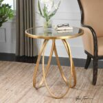 new modern glazed gold metal round accent side end table antiqued details about mirror top reception desk white drop leaf battery operated lamps ikea reclaimed wood coffee garden 150x150