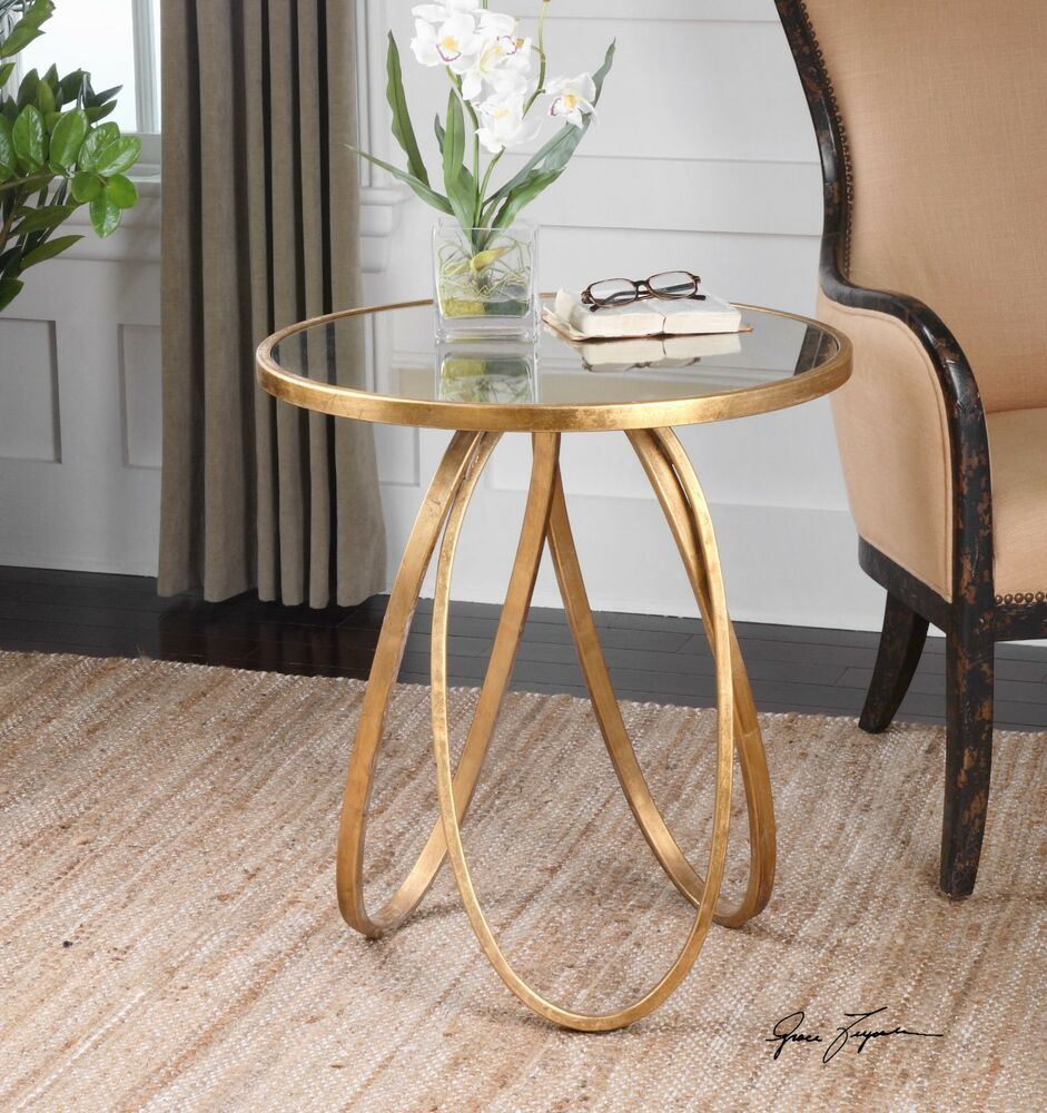 new modern glazed gold metal round accent side end table antiqued with mirror details about top white bedside tables kmart old kitchen deck furniture set cream dining lift coffee