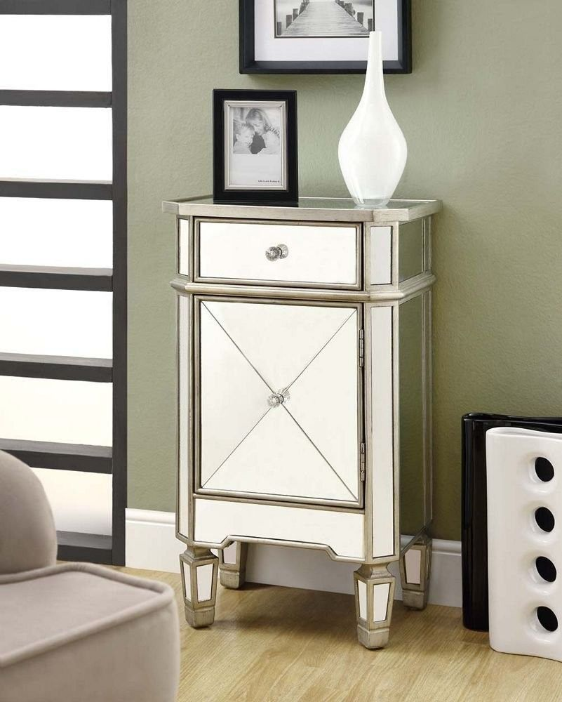new monarch mirrored furniture accent cabinets bedside chest table nightstand wood and mirror construction assembly required reflects side end target ott outdoor bar stools