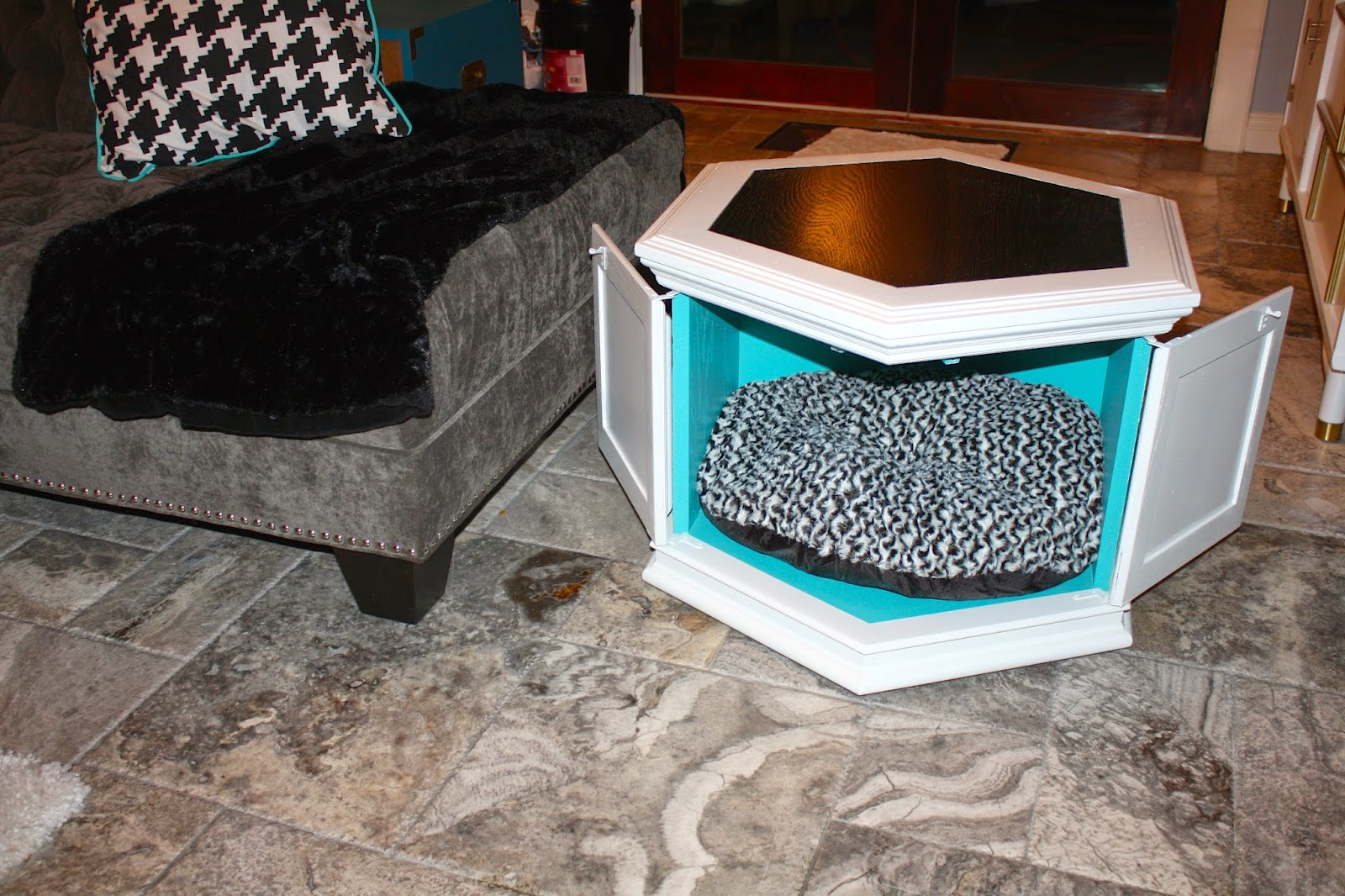 next leather sofas probably terrific beautiful octagon end table makemeprettyagain vintage hexagon gets new life img dog and fresh pet small half circle accent coffee set