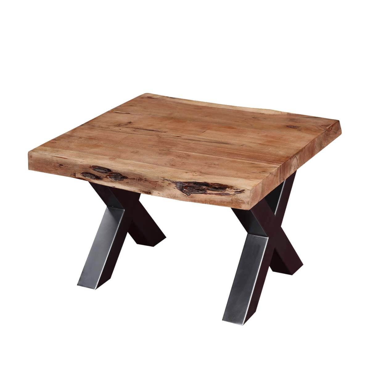 nic style acacia wood iron square live edge end table accent brown threshold hover zoom kirklands bar stools side round glass small tall pink cocktails low oval coffee tiffany