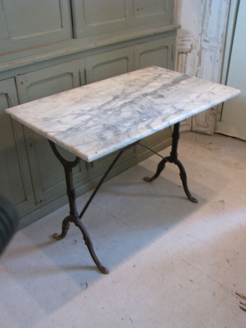 nice early bistro table from iron base measures marble accent high white with grey veining there small chip the unique lighting half round kitchen corner cabinet dining room