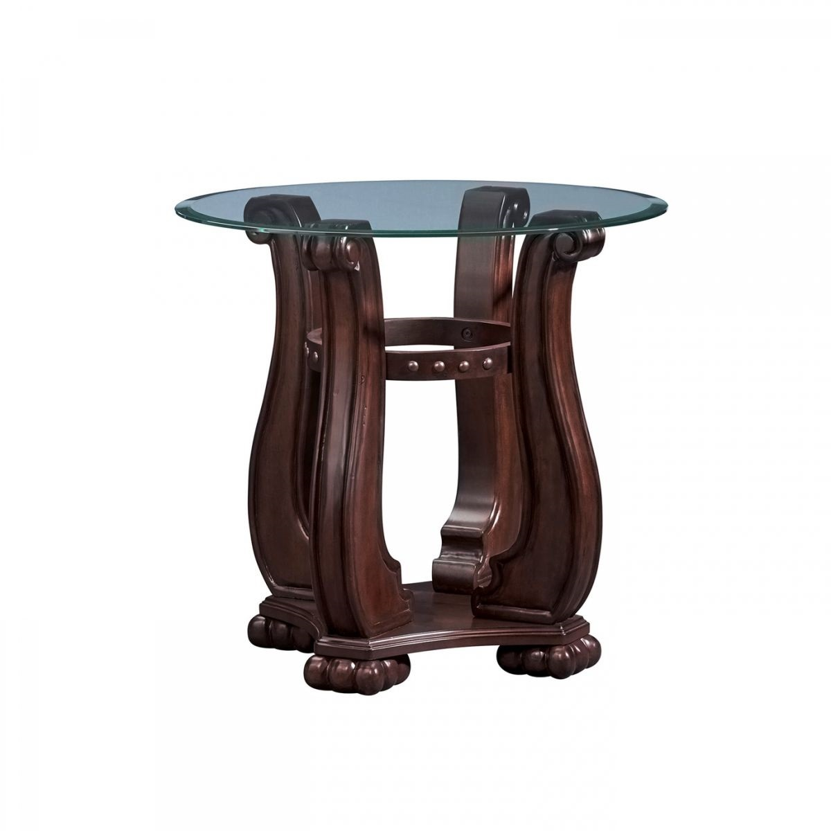 nicholas cherry round end table badcock more accent with nailheads ture nickel legs elemental outdoor covers inch wall clock piece living room tables bedroom decoration gold side