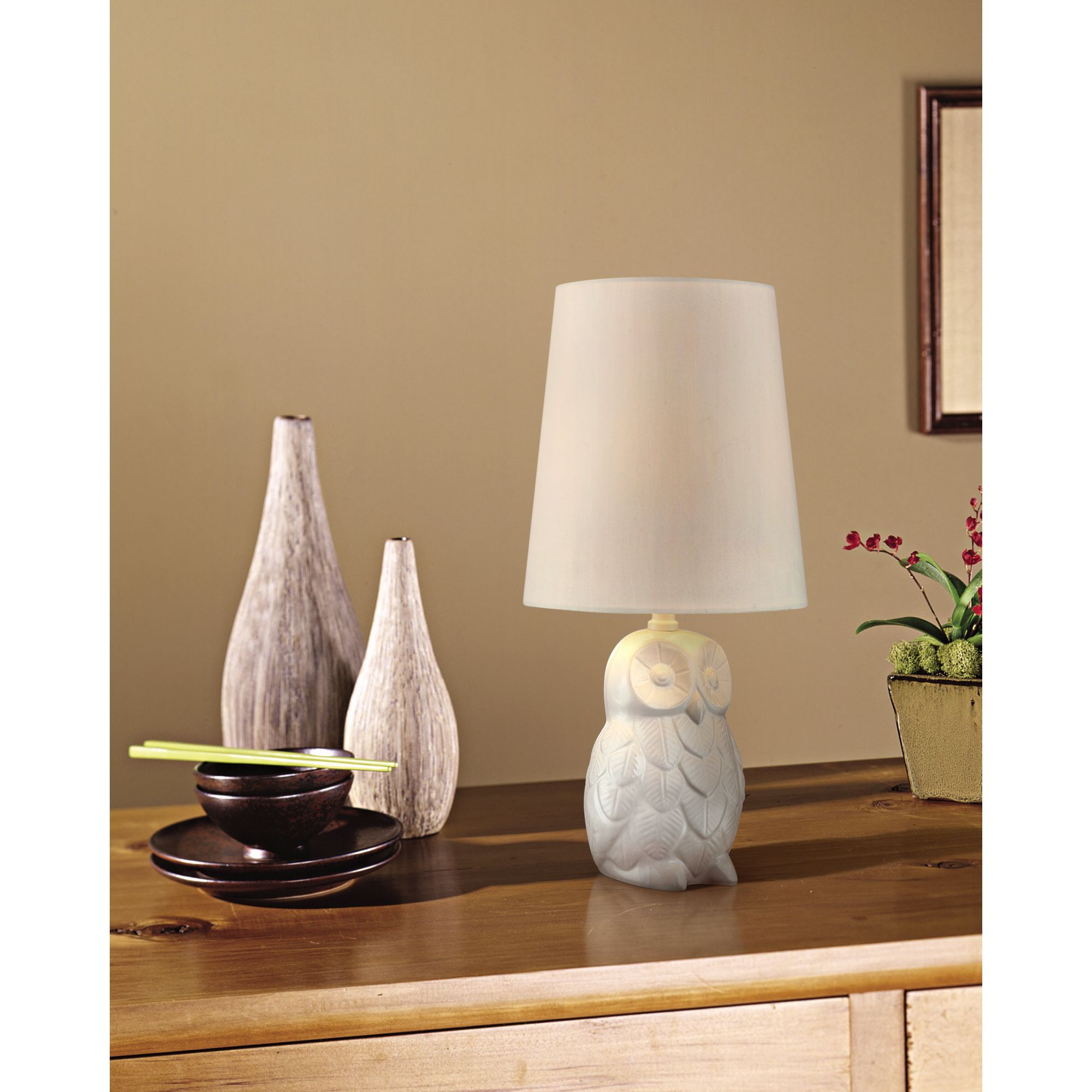 night owl high white ceramic accent table lamp lighting christmas ornament metal cabinet legs slim side furniture deck chairs west elm industrial desk small barn doors for dining