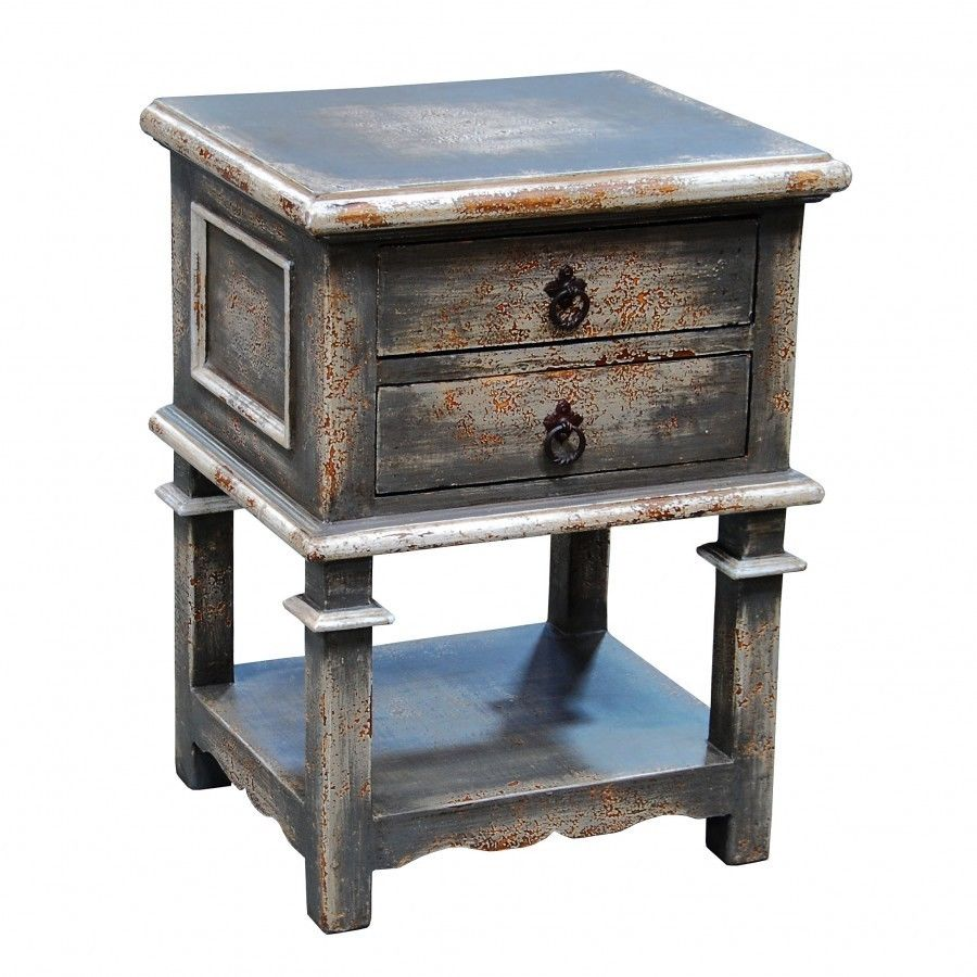 nightstand accent table gray distressed handpaint brass small outdoor grill island comfortable drum throne metal garden lamp with usb port ott drawers restonic mattress blue foyer