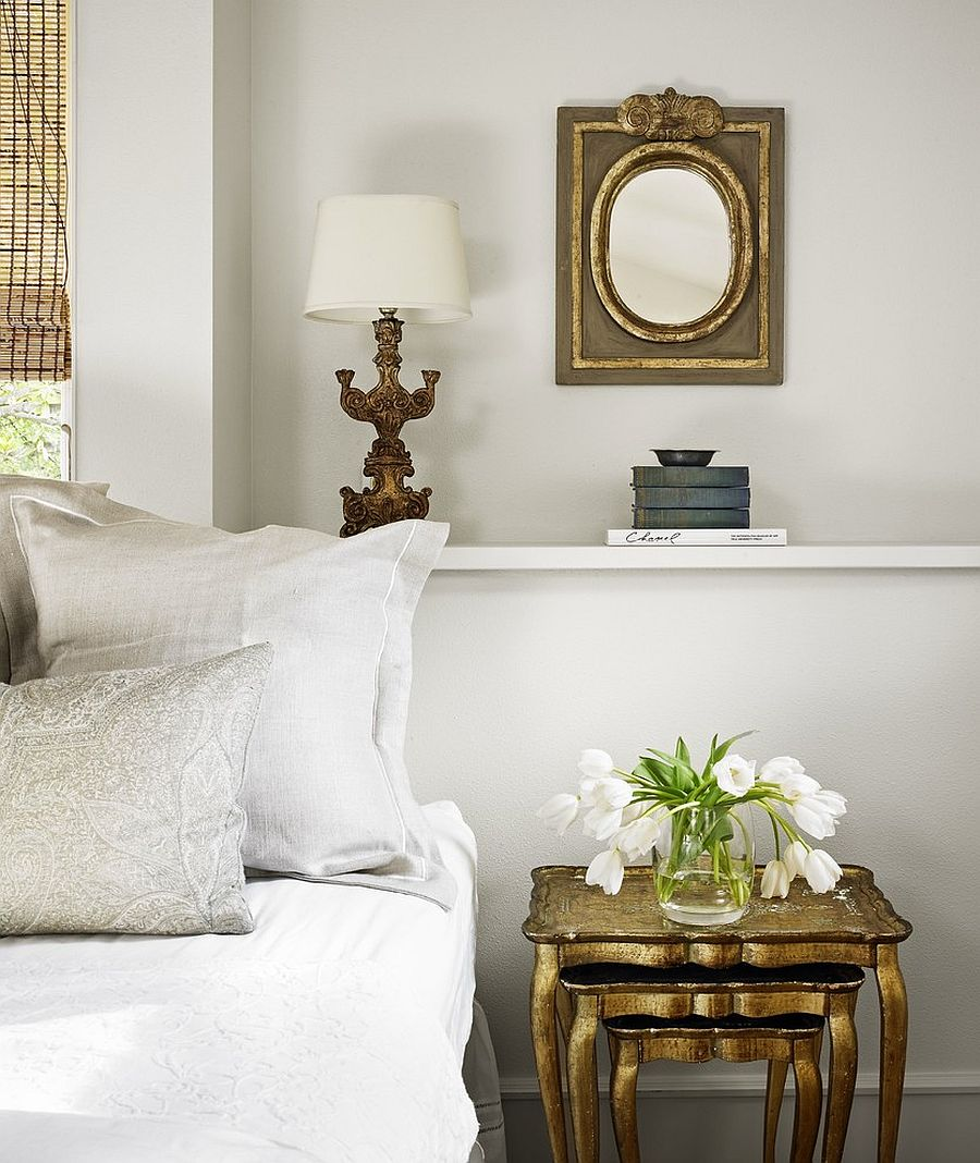 nightstands and bedside tables that golden glint the bedroom nesting gold for shabby chic white accent view gallery design hugh tempo furniture cast aluminum patio end slim lamp