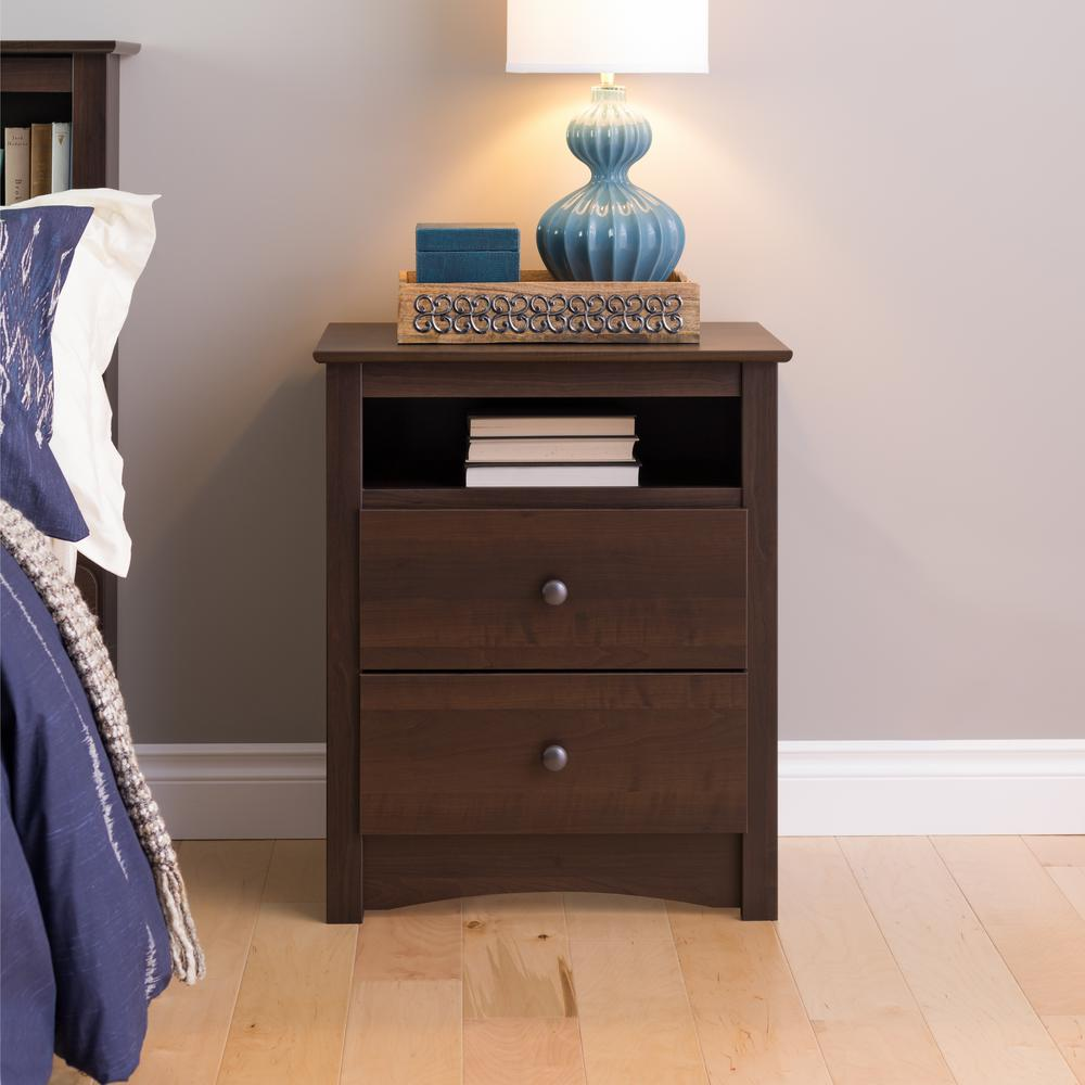 nightstands bedroom furniture the espresso prepac winsome ava accent table with drawer black finish fremont nightstand sheesham wood side large outdoor dining ikea garden shelf