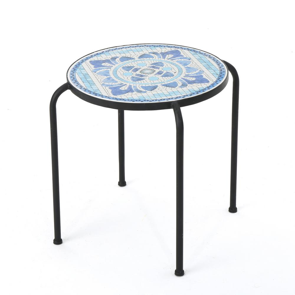 noble house callie round metal outdoor side table the home tables blue green patio foyer and mirror with bbq built unfinished bookcases purple furniture nesting nate berkus