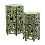 noble house jeffery antique green hexagonal metal outdoor accent side tables table ikea chairs contemporary round grill cover mid century tier end hallway with storage mirror 150x150