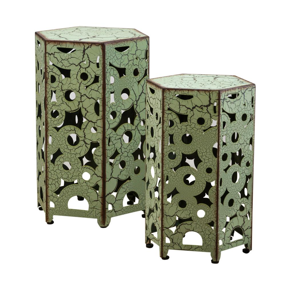 noble house jeffery antique green hexagonal metal outdoor accent side tables table with wine rack solid teak coffee large lamp shades small round pedestal ikea kids storage boxes