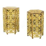 noble house jeffery antique yellow hexagonal metal outdoor accent side tables table rattan diy patio umbrella stand sauder harbor view ikea lamp shades shaped office desk 150x150