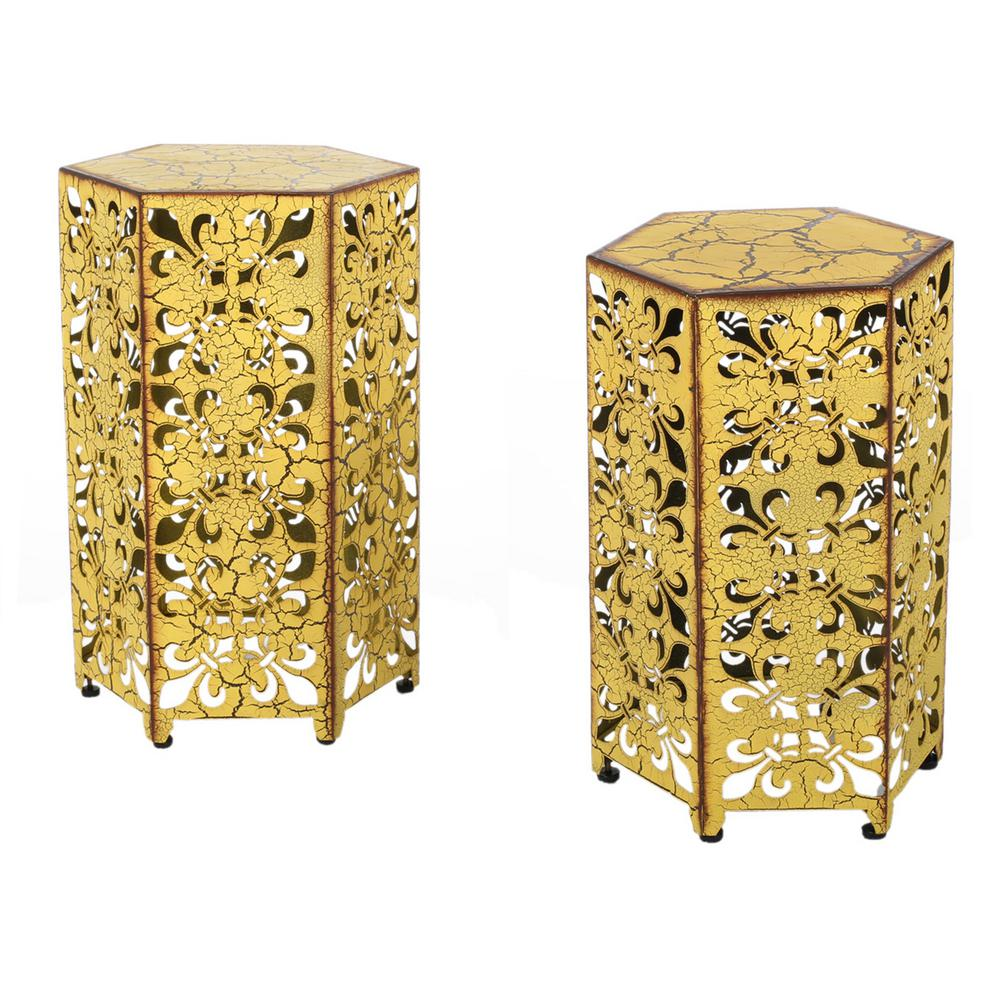 noble house jeffery antique yellow hexagonal metal outdoor accent side tables table rattan diy patio umbrella stand sauder harbor view ikea lamp shades shaped office desk