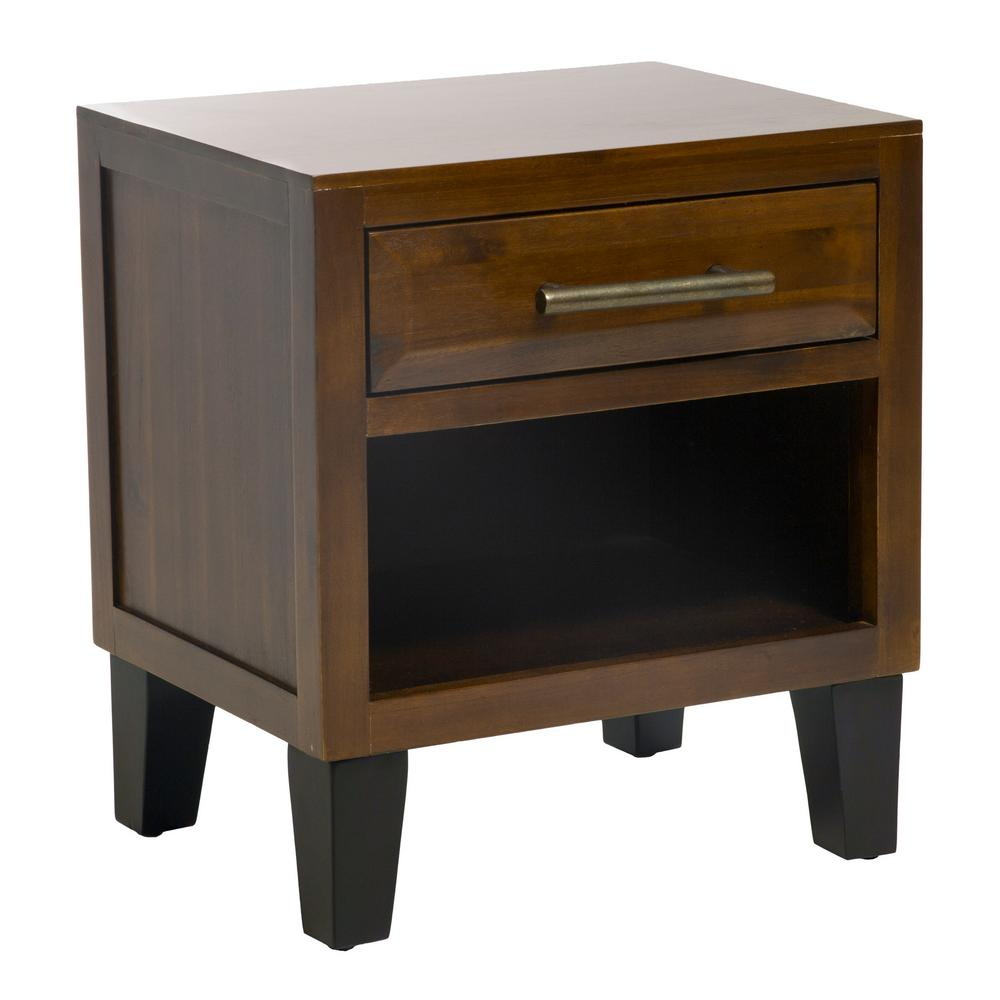 noble house luna mahogany brown acacia wood end table with drawer within tables drawers designs accent rectangular patio umbrella hole trestle farm faux marble dining barn door