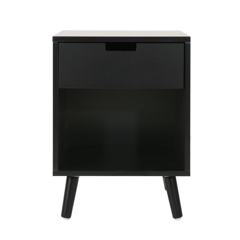 noble house ossian modern black wooden accent side table with drawer end tables display and shelf pottery barn centerpiece furniture edmonton teal bedroom accessories unique
