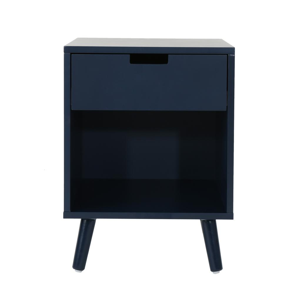 noble house ossian modern dark blue wooden accent side table with end tables drawer and shelf small antique drop leaf bench behind sofa black nightstand reproduction designer