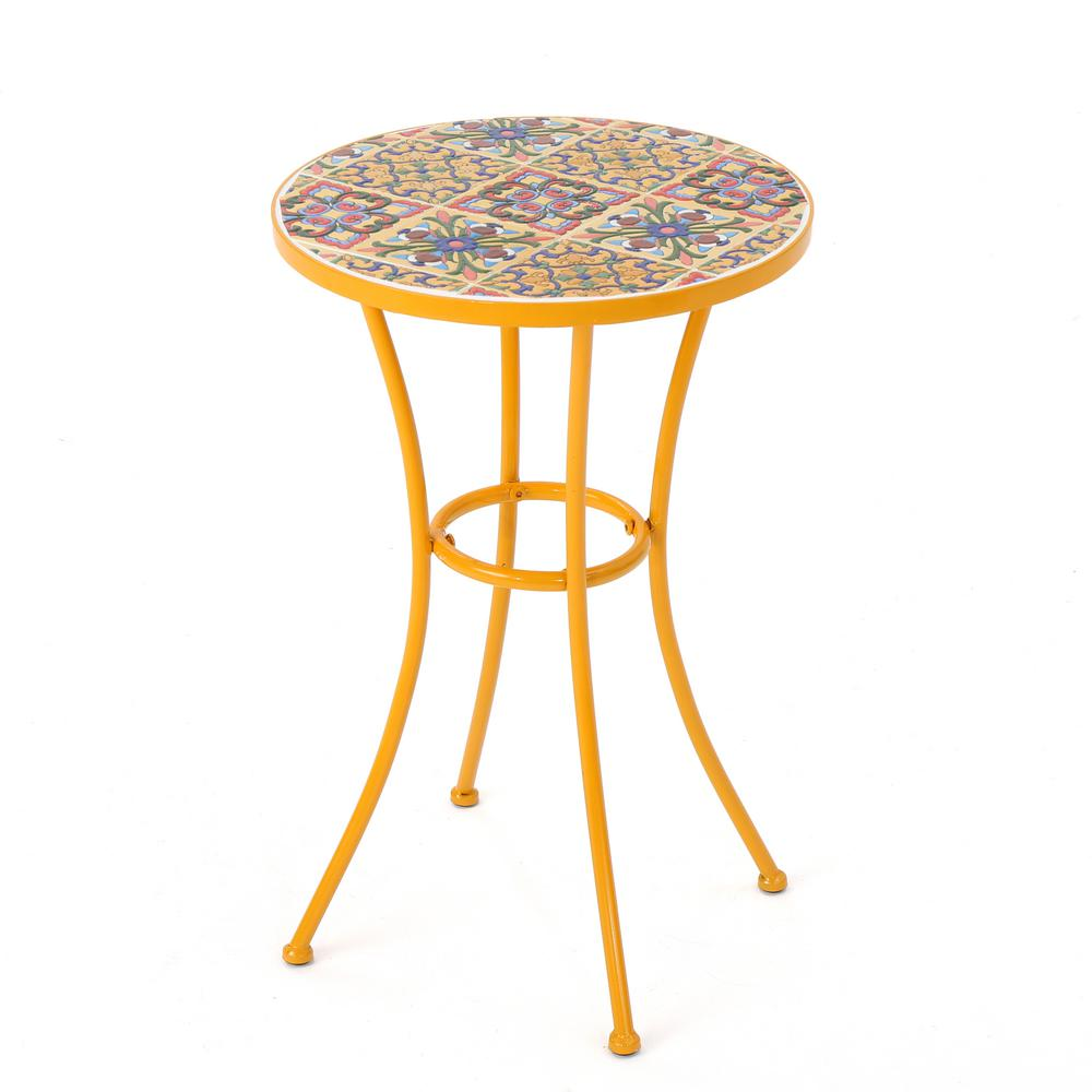 noble house reyna yellow round metal outdoor side table the tables pottery barn rain drum industrial clothing garden bench behind sofa marble top end target umbrella entryway lamp